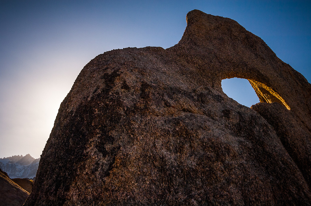 Eastern Sierra Mountains, evening light, April, granite boulders, view from the Alabama Hills Recreation Area, U.S. Bureau of Land Management, Whitney Portal, Inyo County, California, USA