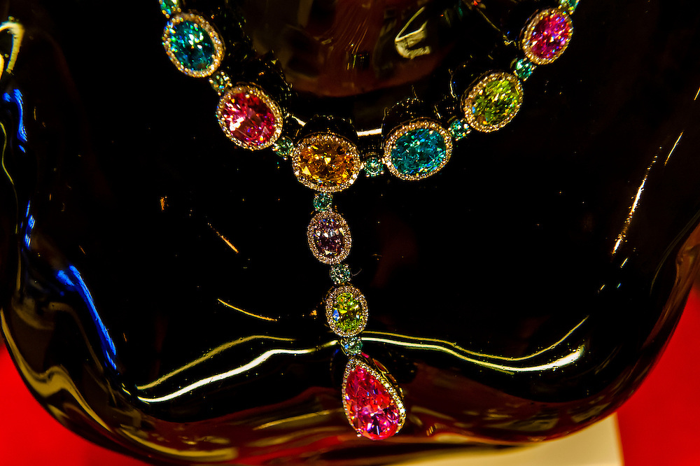 Diamond necklaces at a jewelry store at the Big Hole, an open-pit and underground diamond mine, Kimberley, South Africa.