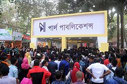 February 5, 2018 - Dhaka, Bangladesh - Fan of Cricketer Shakib Al Hasan gathered at at Parl Publications stall in Ekushey Book Fair to see and buy shakid's written book name is ''Halum'' in Dhaka, Bangladesh. On February 5, 2018. (Credit Image: © Str/NurPhoto via ZUMA Press)