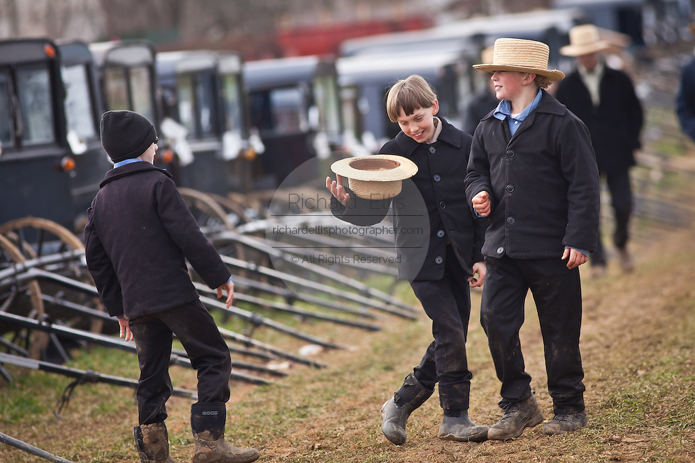 Amish boys play around during the Annual Mud Sale to support the Fire Department in Gordonville, PA.