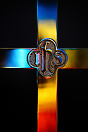 The processional cross with light reflected from stained glass on Tuesday, Aug. 24, 2021, at Grace Lutheran Church, Summerville, S.C. LCMS Communications/Erik M. Lunsford