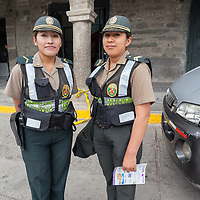 Two female cops doing there job near the Plaza de Armas in Ayacucho