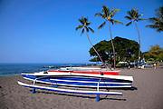 Outrigger fishing canoe, Hookena, Island of Hawaii