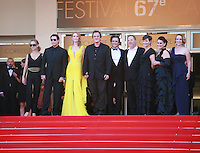 Kelly Preston, John Travolta, Uma Thurman, Quentin Tarantino, Lawrence Bender, Harvey Weinstein and guests at Sils Maria gala screening red carpet at the 67th Cannes Film Festival France. Friday 23rd May 2014 in Cannes Film Festival, France.