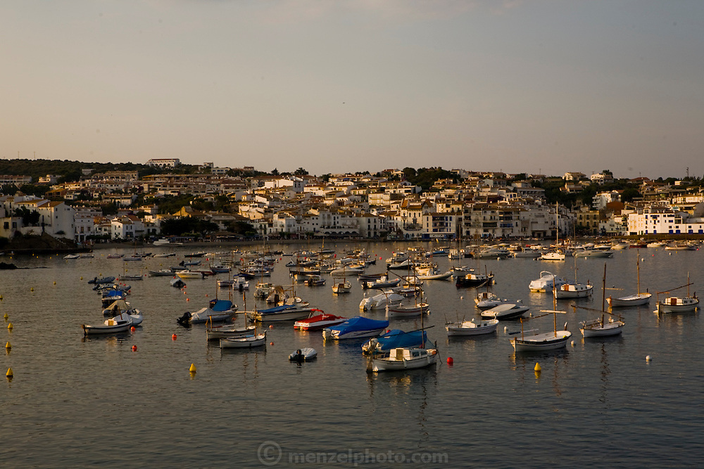 Boats docking at a port in Cadaques, Spain.