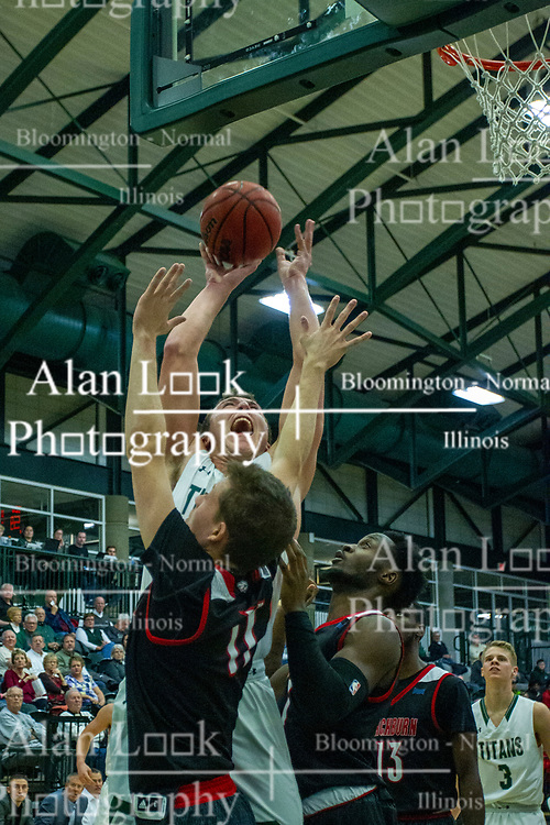 BLOOMINGTON, IL - November 12: Charlie Bair defended by Matt Moseley during a college basketball game between the IWU Titans  and the Blackburn Beavers on November 12 2019 at Shirk Center in Bloomington, IL. (Photo by Alan Look)
