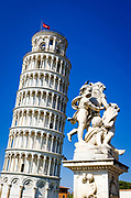 Cherub statue and the Leaning Tower of Pisa, Pisa, Tuscany, Italy