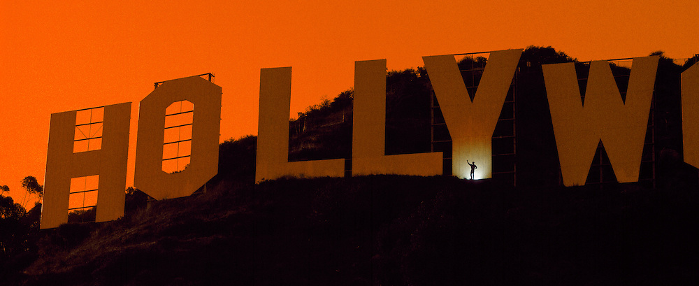 Perhaps the most recognizable sign in the world, the Hollywood Signon Mount Lee in Griffith Park overlooking Hollywood.  The letters are 45 feet tall and spread out over 450 feet and weighs 450,000 pounds