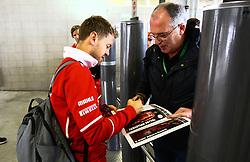 November 11, 2017 - Brazil - SAO PAULO, SP - 11.11.2017: QUALIFYING PARA GP F1 - In the photo the pilot, Sebastian Vettel of Scuderia FERRARI, arrives at the autodrome of Interlagos and signs fan's book. Classifying training day on Saturday (11), for the Brazilian Formula 1 Grand Prix, which will take place on Sunday (12) at the Jose Carlos Pace racetrack in Interlagos. (Credit Image: © Fotoarena via ZUMA Press)