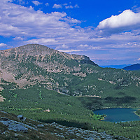 Albrus Lake, in Montana's Tobacco Root Mountains, lies below Potosi Peak (foreground) and Hollow Top Mountain (east ridge descending on left of frame) in Beaverhed National Forest near Pony.