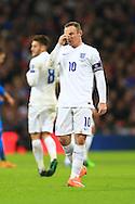 Wayne Rooney of England looks dejected - England vs. Slovenia - UEFA Euro 2016 Qualifying - Wembley Stadium - London - 15/11/2014 Pic Philip Oldham/Sportimage