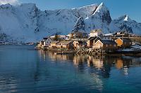 Yellow Rorbu cabins of Sakrisøy, Lofoten Islands, Norway