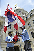 A Mississippi flag flies at the governors mansion in Jackson, Mississippi, U.S., July 1, 2020.  REUTERS/Suzi Altman
