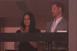 Prince Harry stands with Meghan Markle during the Invictus Games closing ceremony in Toronto, on Saturday, September 30, 2017. Photo by Chris Young/CP/ABACAPRESS.COM