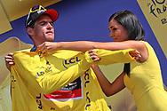 Podium, Hotess, Miss, Greg Van Avermaet (BEL - BMC) yellow jersey during the Tour de France 2018, Stage 4, Team Time Trial, La Baule - Sarzeau (195 km) on July 10th, 2018 - Photo Ilario Biondi / BettiniPhoto / ProSportsImages / DPPI