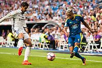 Real Madrid's player Alvaro Morata and Celta de Vigo's player Theo Bongonda during a match of La Liga Santander at Santiago Bernabeu Stadium in Madrid. August 27, Spain. 2016. (ALTERPHOTOS/BorjaB.Hojas)