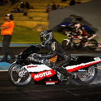 Justin Townson (211) burns out on his Honda Fireblade in Modified Bike at Perth Motorplex.