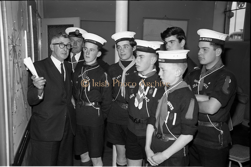 02/06/1964 <br /> 06/02/1964<br /> 02 June 1964<br /> Sea Scouts at Palgrave Murphy Shipping Ltd., Eden Quay, Dublin. The Scouts are given a tour of the premises by Mr. C.M. Grace, Engineer Superintendent, Palgrave Murphy Shipping Ltd.