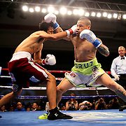 KISSIMMEE, FL - JULY 15: Orlando Cruz (R) trades punches with Alejandro Valdez during a boxing match at the Kissimmee Civic Center on July 15, 2016 in Kissimmee, Florida. Cruz was the first professional boxer to announce himself as gay and recently lost four friends in the Pulse Nightclub shooting in Orlando, he dedicated this match to his lost friends and won the bout by TKO in the 7th round.  (Photo by Alex Menendez/Getty Images) *** Local Caption *** Orlando Cruz; Alejandro Valdez