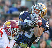 Golden Tate, seen here against the University of Southern California at Notre Dame Stadium, hauls in a deep pace over the defender.