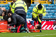Goalkeeper Costel Pantilimon of Watford goes down injured and is stretchered off during the FA Cup match at The Den, London<br /> Picture by Liam McAvoy/Focus Images Ltd 07413 543156<br /> 29/01/2017