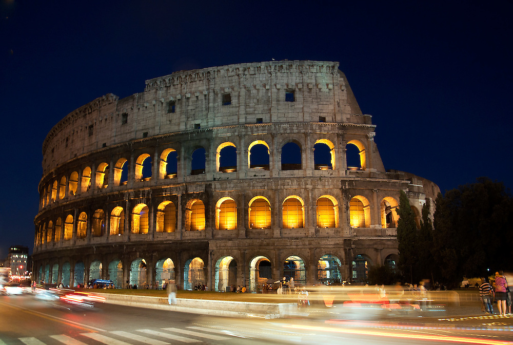 The stunning colosseum taken at night.
