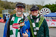 Plymouth Argyle fans arrive ahead of the EFL Sky Bet League 1 match between Wycombe Wanderers and Plymouth Argyle at Adams Park, High Wycombe, England on 26 January 2019.