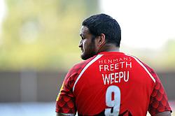 Piri Weepu (London Welsh) looks on after the match - Photo mandatory by-line: Patrick Khachfe/JMP - Mobile: 07966 386802 06/09/2014 - SPORT - RUGBY UNION - Oxford - Kassam Stadium - London Welsh v Exeter Chiefs - Aviva Premiership