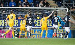 Morton's Kudus Oyenuga scoring their goal. Falkirk 0 v 1 Morton, Scottish Championship game played 18/3/2017 at The Falkirk Stadium.