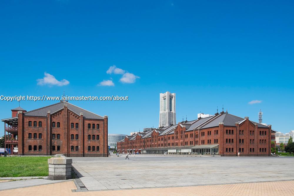 Historic red Brick Warehouses in Minato Mirai district of Yokohama Japan