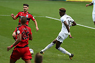 Tammy Abraham of Swansea city (10) scores his teams 1st goal. Premier league match, Swansea city v Huddersfield Town at the Liberty Stadium in Swansea, South Wales on Saturday 14th October 2017.<br /> pic by  Andrew Orchard, Andrew Orchard sports photography.