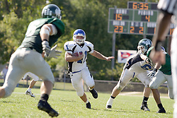 15 September 2007:  Mike Lovell eyes his lane options. The Titans stood toe to toe with the 25th ranked Lions through the first half but ended the game on the losing end of a 25-15 score at Wilder Field on the campus of Illinois Wesleyan University in Bloomington Illinois.