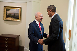 June 25, 2014 - Washington, DC, United States of America - U.S. President Barack Obama greets Israeli President Shimon Peres outside the White House Oval Office June 25, 2014 in Washington, DC. (Credit Image: © Pete Souza/Planet Pix via ZUMA Wire)