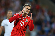 Aaron Ramsey of Wales reacts after missing a goal chance. Wales v Austria , FIFA World Cup qualifier , European group D match at the Cardiff city Stadium in Cardiff , South Wales on Saturday 2nd September 2017. pic by Andrew Orchard, Andrew Orchard sports photography