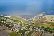 Nederland, Friesland, Gemeente Dongeradeel, 28-02-2016; Paesens-Moddergat, twee dorpen gelegen aan de Waddenkust, achter de zeedijk van de Waddenzee. In de achtergrond de Waddenzee.<br /> Twin villages located on the Wadden Sea, behind the dike of the Wadden Sea.<br />  <br /> luchtfoto (toeslag op standard tarieven);<br /> aerial photo (additional fee required);<br /> copyright foto/photo Siebe Swart