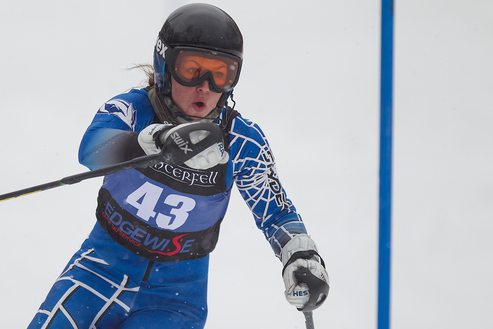 Brittney Ziebell of Colby College, skis during the second run of the women's slalom at Jiminy Peak on February 14, 2014 in Hancock, MA. (Dustin Satloff/EISA)