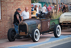 """Will """"Willy"""" Wilcox' 1928 Ford Model A Roadster Pick Up from Vail, Colorado at  the Friday afternoon in the hotel parking lot before the Race of Gentlemen. Wildwood, NJ, USA. October 9, 2015.  Photography ©2015 Michael Lichter."""