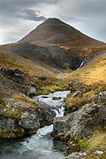 Longuhlidarfjall mountain North Iceland. Stekkjahjallafoss in the distance.