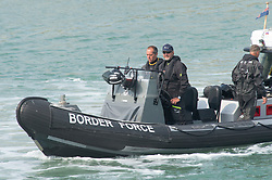 ©Licensed to London News Pictures 11/08/2020             Dover, UK. Border Force patrol heading out to sea from Dover Marina,Kent. Border Force Coastal patrol have had another busy day today in the English Channel rescuing migrants trying to cross from France. Photo credit: Grant Falvey/LNP
