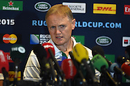 Ireland head coach Joe Schmidt speaks to the press. RWC 2015,  Ireland rugby press conference at the Hilton Hotel in Cardiff, South Wales  on Friday 16th October 2015. The Ireland team are preparing for their quarter final match against Argentina on Sunday.<br /> pic by  Andrew Orchard, Andrew Orchard sports photography.