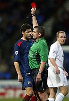 Photo. Aidan Ellis.<br />Bolton Wanderers v Portsmouth.<br />FA Barclaycard Premiership.<br />17/01/2004.<br />Pompey's Dejan Stefanovic is sent off for foul and abusive language