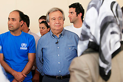 © Licensed to London News Pictures 13/09/2012.UN High Commissioner for Refugees Antonio Guterres visits Syrian refugees housed at the Öncüpinar camp, in the border province of Kilis. The camp houses up to 12,488 persons and provides homes made out from cargo containers. .Oncupinar, Turkey.Photo credit: Anna Branthwaite/LNP