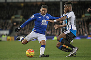 Aaron Lennon (Everton) is fouled in the box and a penalty awarded during the Barclays Premier League match between Everton and Newcastle United at Goodison Park, Liverpool, England on 3 February 2016. Photo by Mark P Doherty.