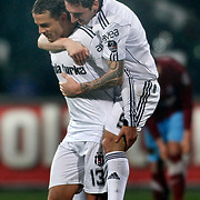 Besiktas's Deivson Rogerio Da SILVA (BOBO) (L) celebrate his goal with team mate during their Turkish Superleague Derby match Besiktas between Trabzonspor at the Inonu Stadium at Dolmabahce in Istanbul Turkey on Sunday, 06 March 2011. Photo by TURKPIX