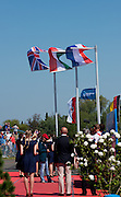 Brandenburg. GERMANY. Flags billowing in the Brandenburg wins during the Men's Pair awards ceremony. Silver medalist Men's Pair, Left, Alan SINCLAIR and Stewart INNES, awards dock,<br /> 2016 European Rowing Championships at the Regattastrecke Beetzsee<br /> <br /> Sunday  08/05/2016<br /> <br /> [Mandatory Credit; Peter SPURRIER/Intersport-images]