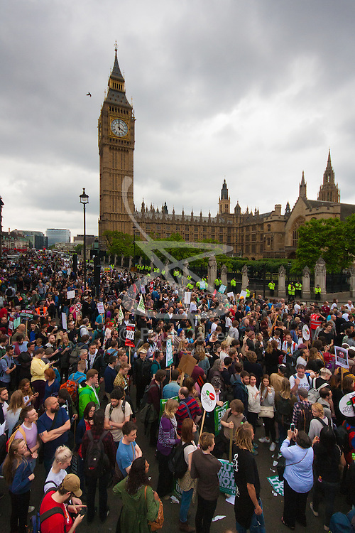 London, June 20th 2015. Thousands of people converge on the streets of London to join the People's Assembly Against Austerity's march from the Bank of England to Parliament Square. PICTURED: Tens of thousands of protesters mill around outside the Houses of Parliament whilst speakers talk of bringing the Tory-led government down.
