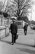 19th April 1972<br /> <br /> George Colley TD, Minister for Finance, Budget. Pictured in his office at the Finance Department. The Minister for Finance, Mr George Colley, is seen leaving to give his budget speech at Dail Eireann, Leinster House, Dublin.