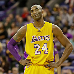 Feb 4, 2016; New Orleans, LA, USA; Los Angeles Lakers forward Kobe Bryant (24) reacts after a score by New Orleans Pelicans forward Anthony Davis (not pictured) during the second half of a game at the Smoothie King Center. The Lakers defeated the Pelicans 99-96. Mandatory Credit: Derick E. Hingle-USA TODAY Sports