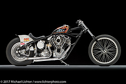 A shovelhead drag racer built by Dalton Walker of Split Image Kustoms (SIK) in Hanford, CA for Robin's Jean. Photographed by Michael Lichter in Sturgis, SD on July 31, 2017. ©2017 Michael Lichter.
