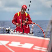 Leg 4, Melbourne to Hong Kong, day 06 on board MAPFRE, Pablo Arrarte stearing. Photo by Ugo Fonolla/Volvo Ocean Race. 07 January, 2018.